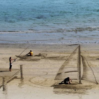 Magnifieke driedimensionale tekeningen van zand