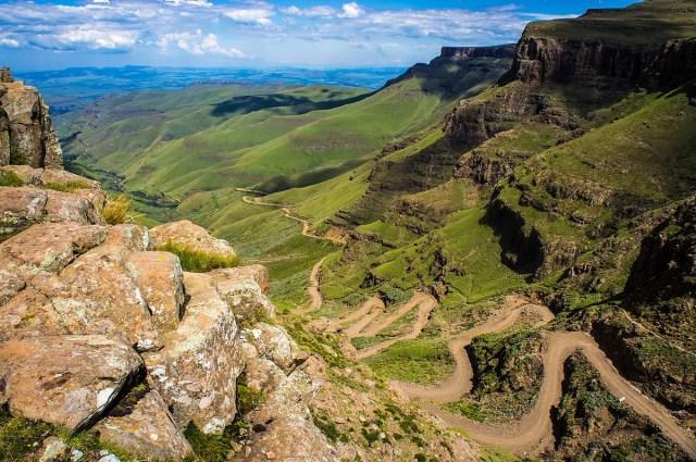 De Sani Pass tussen Zuid-Afrika en Lesotho