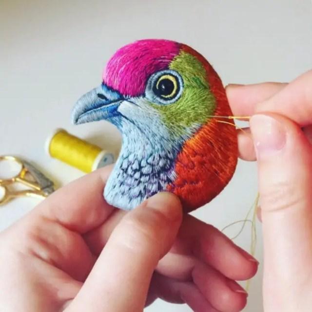 geborduurde vogels