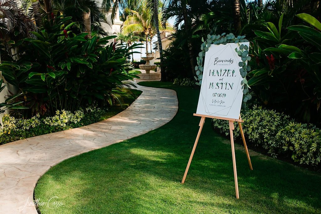 destination wedding welcome sign