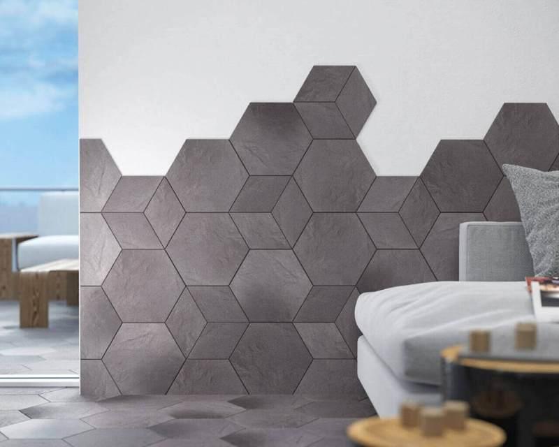 aranzacja-szarego-salonu-z-plytkami-heksagonalnymi-klinkier-taurus-grys-ceramika-paradyz