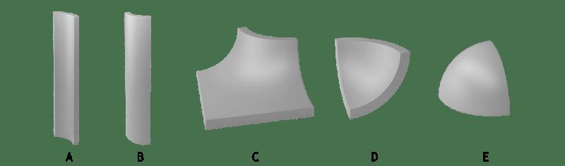 Komplet matowych kształtek Gamma wkolorze szarym.