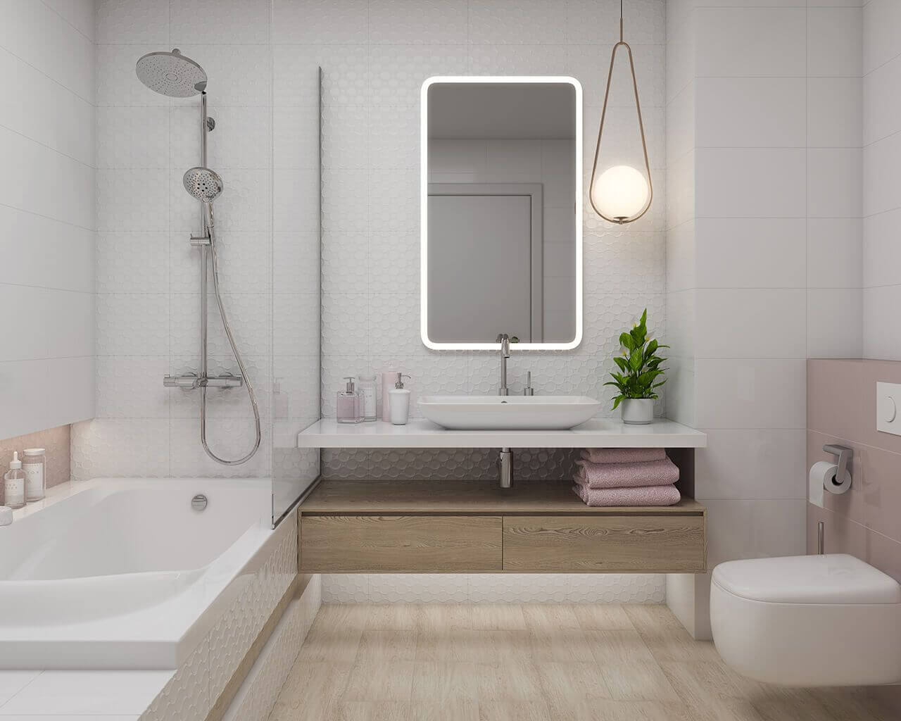 Тепло-ярко-ванная комната-договоренность-Мартиника