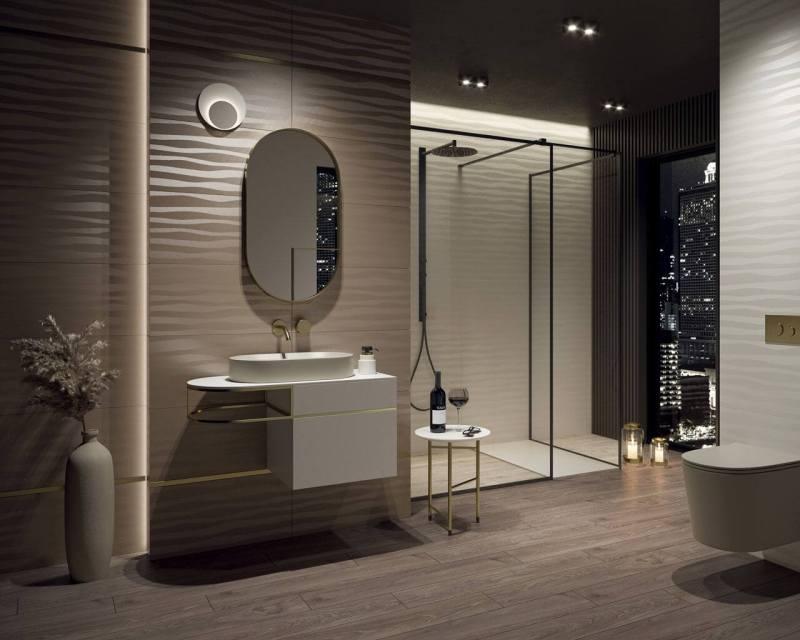 Nowoczesna łazienka zdużym oknem tworzy szykowny ielegancki klimat wnętrza.