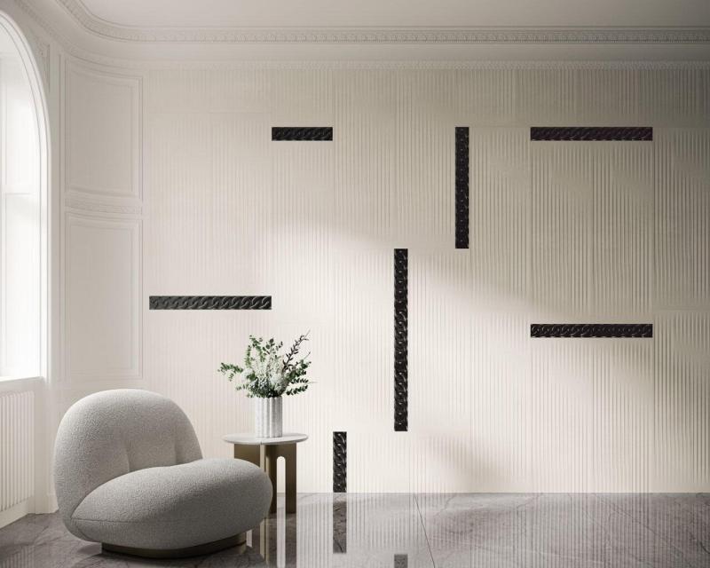 Jasne, stylizowane ściany salonu są pięknym tłem dla ciemnych dodatków, przypominających plecione warkocze.