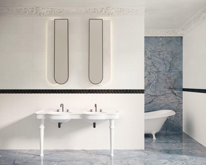 Nowoczesna łazienka łączy wsobie wiele różnych motywów, zachowując przy tym spójny ielegancki wygląd.