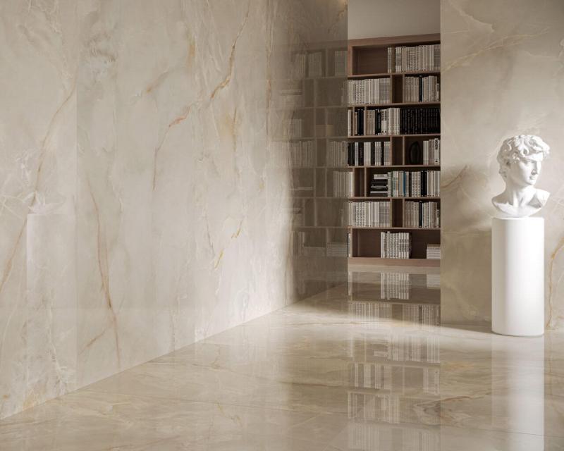 Klasyczny, jasny marmur iduża ozdoba wtym stylu przewrotnie tworzą piękne, nowoczesne wnętrze.