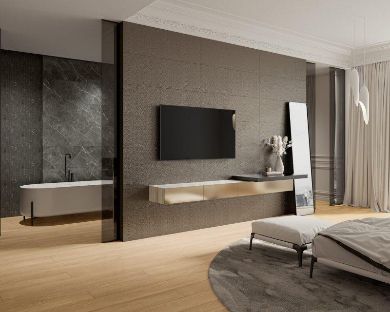Połączenie sypialni iłazienki można zaplanować tak, byobie strefy zapewniały nam wygodę korzystania znich orazgwarantowały piękne, nowoczesne wnętrze.