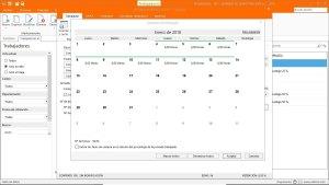 pantalla de calendario del trabajador