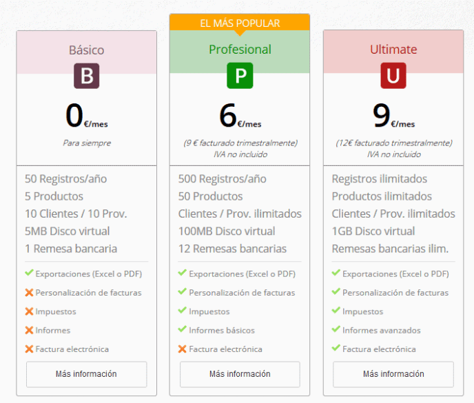 versiones de contasimple