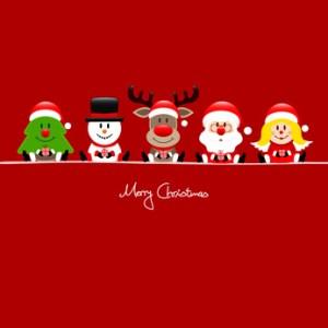 Tree, Snowman, Rudolph, Santa & Angel Gift Red
