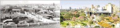 LOMA CABARÁ. El lugar de la fundación de Asunción. Una foto de 1890 tras el incendio y demolición de la iglesia de la Encarnación (Colec. Javier Yubi) y una actual (Juan R. Ávila). / ABC Color