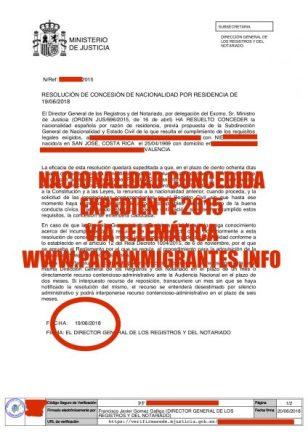 Nueva resolución favorable de expediente de Nacionalidad Española resuelto favorable de un cliente de Parainmigrantes.info.