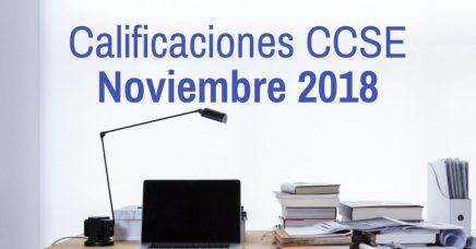 Calificaciones Examen CCSE Noviembre 2018