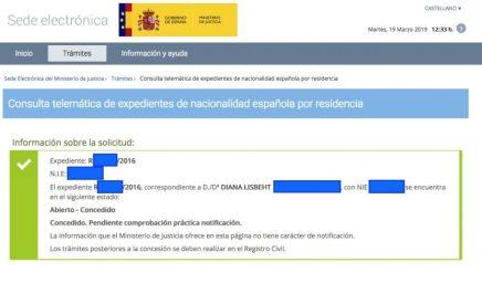 Concesiones de nacionalidad española Diana Lisbeht