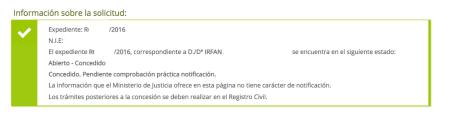 Irfan. Resuelto por Contencioso. Presentado el 30 octubre. Decreto admisión el 14 de noviembre