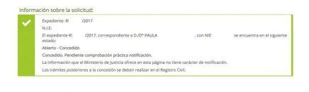 Concesiones de nacionalidad: Paula por vía telemática