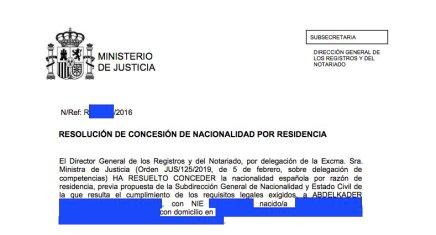 Concesiones de Nacionalidad Española. Abdelkader