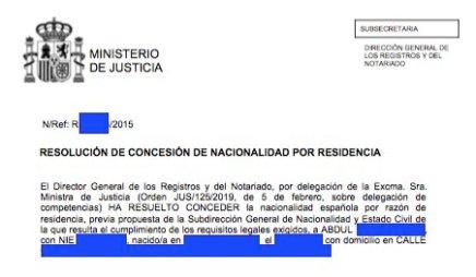 Concesiones de Nacionalidad Española Abdul