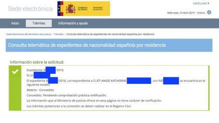 Concesiones de Nacionalidad Española Angie Katherine