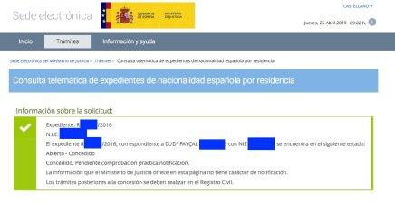 Concesiones de Nacionalidad Española Fayçal
