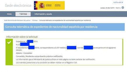 Concesiones de Nacionalidad Española Harold