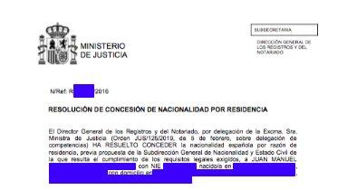 Concesiones de Nacionalidad Española Juan Manuel