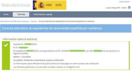 Concesiones de Nacionalidad Española Luciano