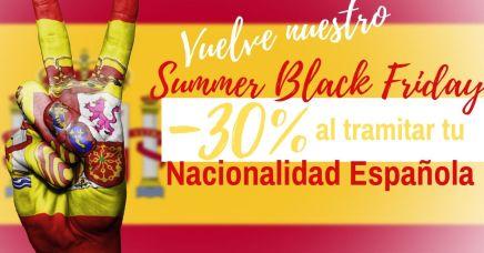 Summer Black Friday 30% descuento al tramitar tu nacionalidad española