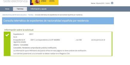 resoluciones de concesión de nacionalidad española Andres
