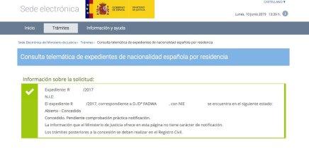 Resolución de Concesión de Nacionalidad Española Fadwa