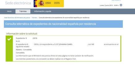 Resoluciones de concesión de nacionalidad española Johanna Isabel