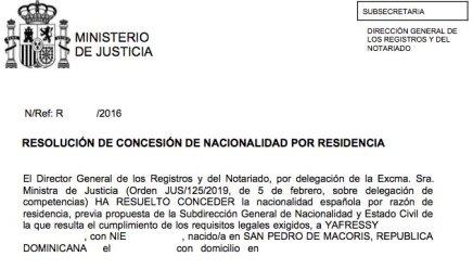 resoluciones de concesión de nacionalidad española Yafressy