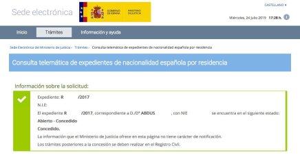 Concesión de Nacionalidad Española de ABDUS