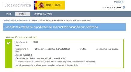 Resoluciones de Concesión de Nacionalidad Española Abdellah