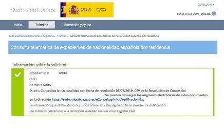 Resoluciones de Concesión de Nacionalidad Española Aura
