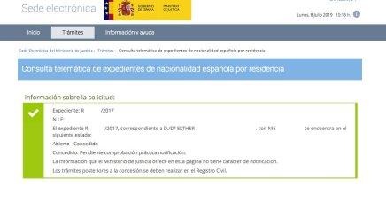 Resoluciones de Concesión de Nacionalidad Española Esther