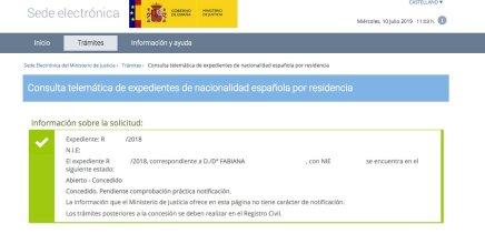Resoluciones de Concesión de Nacionalidad Española Fabiana