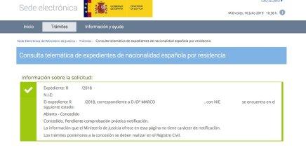 Resoluciones de Concesión de Nacionalidad Española Marco