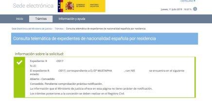 Resoluciones de Concesión de Nacionalidad Española Mustapha