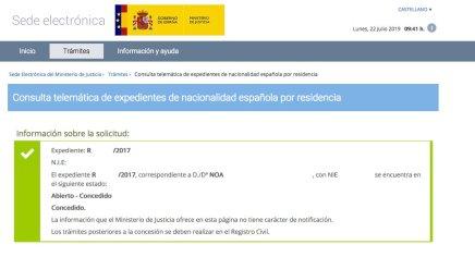 Resolución de Concesión de Nacionalidad Española de Noa