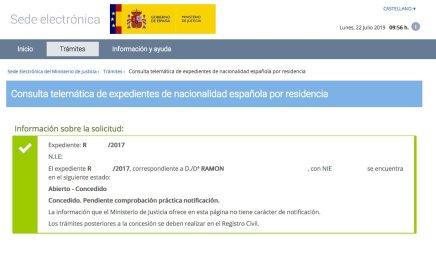 Resolución de Concesión de Nacionalidad Española de Ramón