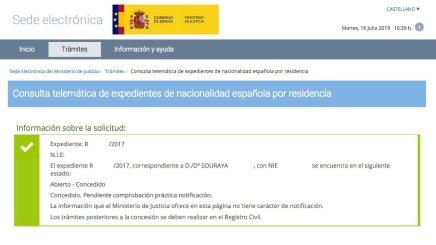 Resolución de Concesión de Nacionalidad Española de Souraya