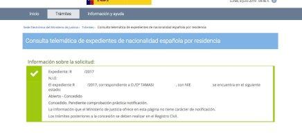 Resoluciones de Concesión de Nacionalidad Española Tamasi