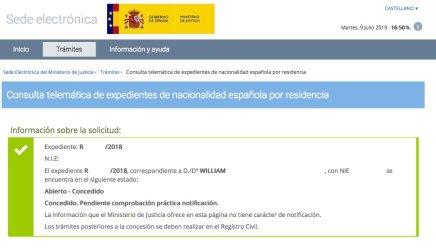 Resoluciones de Concesión de Nacionalidad Española William