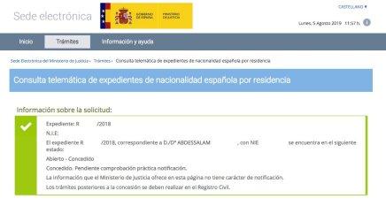 Resolución de Concesión de Nacionalidad Española de Abdessalam