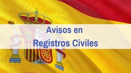 Avisos Registro Civil