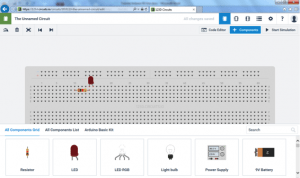 Componentes adicionados na protoboard virtual