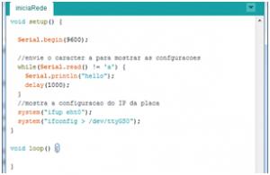 Código para iniciar a rede na Intel Galileo.