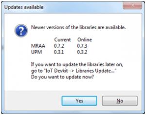 Mensagem de atualizaçao das bibliotecas